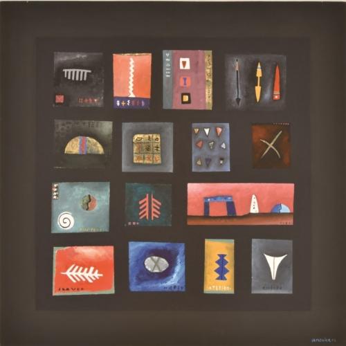 CARLO LA MONICA Reperti 2001 acrilico su legno 175x175 cm MAC Museo Corrao Gibellina