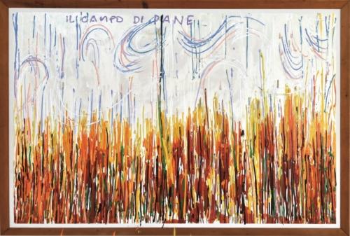 MARIO SCHIFANO Il Campo di pane 1984 smalto su tela  cm216x316 MAC Museo Corrao Gibellina