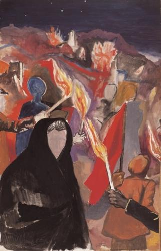 RENATO GUTTUSO La notte di Gibellina 1970 olio su tela cm139x88.5 MAC Museo Corrao Gibellina