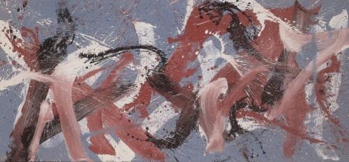 TOTI SCIALOJA Feudo Gibellina Ocra 1985 canapa dipinta a colori vinilici  142x301 cm MAC Museo Corrao Gibellina